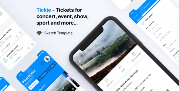 Tickie - Event & Conference Tickets Apps Sketch Template - Sketch Templates