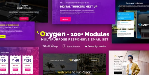 Oxygen - Multipurpose Email Set with 100+ Modules + MailChimp Editor + StampReady + Online Builder - Newsletters Email Templates