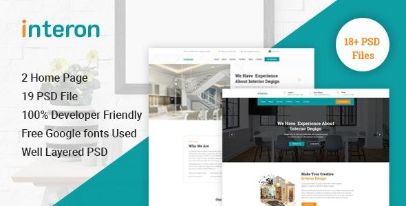 Interon - Interior Design Business PSD Template - Business Corporate