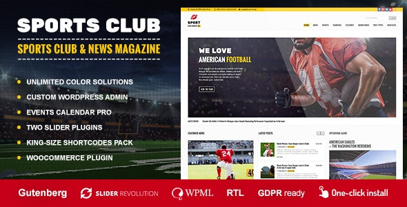 Sports Club - Football, Soccer, Sport News Theme - Nonprofit WordPress