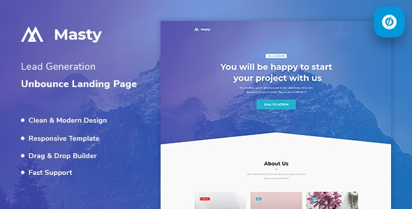 Masty - Lead Generation Unbounce Landing Page Template - Unbounce Landing Pages Marketing