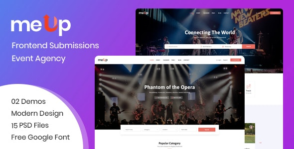 meUp – Frontend Submission Event, Agency PSD Template - Events Entertainment