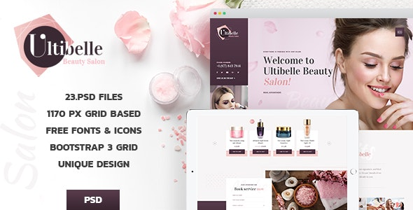 Ultibelle Beauty Salon Hairdresser Nail Center Psd Template By Denysthemes