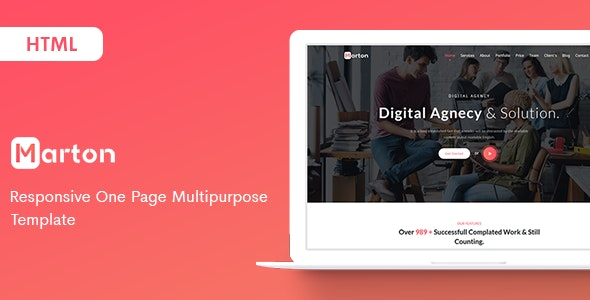 Marton - Responsive One Page Multipurpose Template - Corporate Site Templates