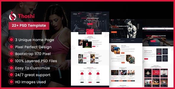 Thoshi – Gym Fitness & Yoga PSD Template - Health & Beauty Retail