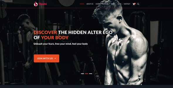 Thoshi – Gym Fitness & Yoga PSD Template