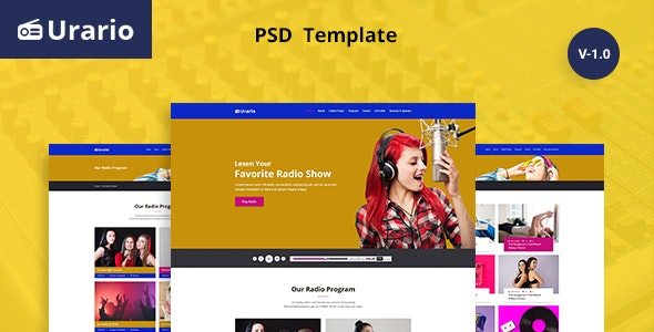 Urario - Online Radio Psd Template - Entertainment PSD Templates