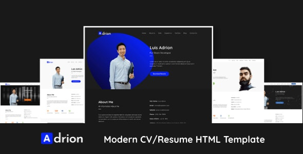 Adrion - CV / Resume Bootstrap 4 HTML Template - Resume / CV Specialty Pages