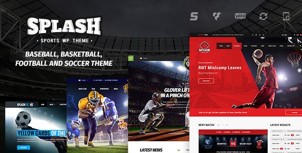 Splash WP - WordPress Sport Theme for Basketball, Football, Soccer and Baseball Clubs - Charity Nonprofit
