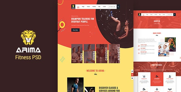 Arima | Fitness, Gym PSD Template - Photoshop UI Templates