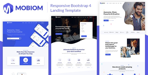 Mobiom – Responsive Bootstrap 4 Landing Template - Technology Site Templates