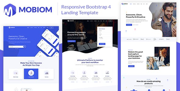 Mobiom – Responsive Bootstrap 4 Landing Template