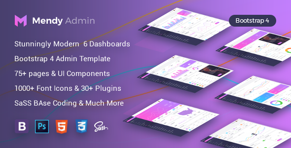 Mendy Admin Template - Dashboard + UI Kit Framework with Frontend Templates (Bootstrap 4) - Admin Templates Site Templates