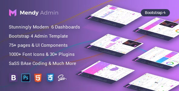 Mendy Admin Template - Dashboard + UI Kit Framework with Frontend Templates (Bootstrap 4)