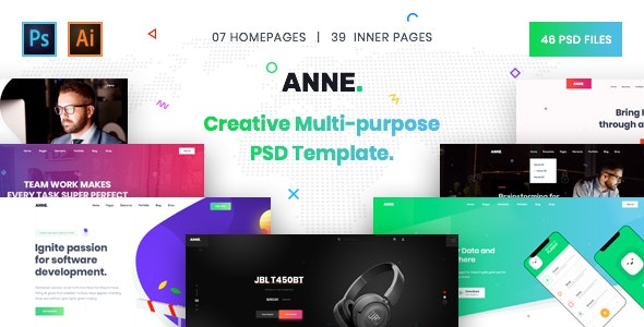 Anne - Creative Multi-Purpose PSD Template - Creative PSD Templates