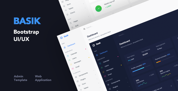 Basik - Responsive Bootstrap Web Application and Admin Template - Admin Templates Site Templates