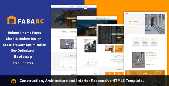 Fabarc | Construction Architecture & Interior Responsive HTML5 Template. - Business Corporate