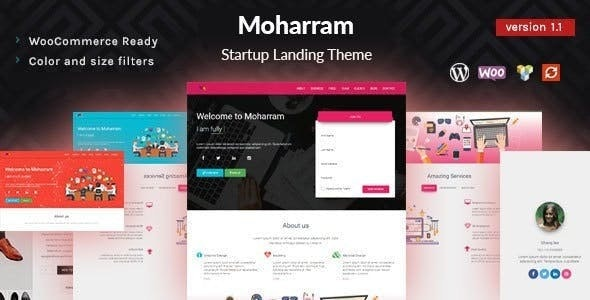Moharram - Material Design Startup Landing WordPress Theme - Marketing Corporate