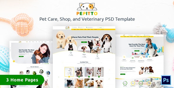 Pepitto - Pet Care, Shop, and Veterinary PSD Template - Business Corporate