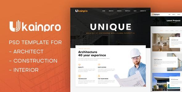 Ukainpro | Architect & Construction PSD Template - Corporate Photoshop