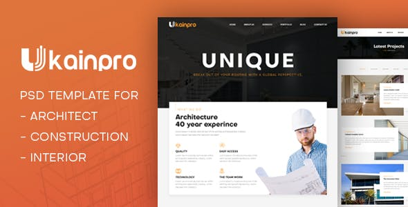 Ukainpro | Architect & Construction PSD Template