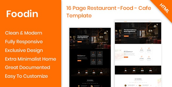 Foodin - Restaurant & Cafe Responsive HTML Template - Food Retail