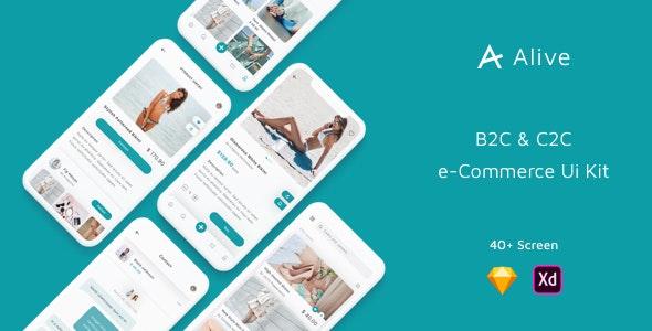 Alive - B2C and C2C eCommerce App Ui Kit - Sketch Templates