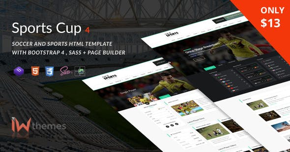 Sports Cup, Soccer & Sporting Html Theme with Bootstrap 4 + Page Builder by iwthemes