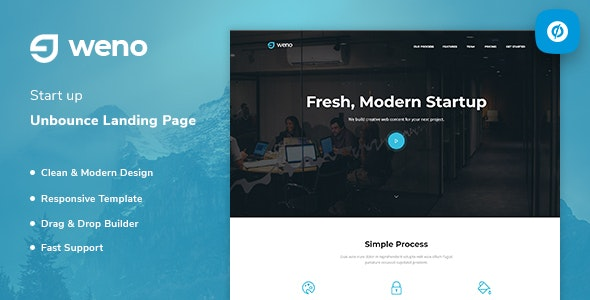 Weno - Startup Unbounce Landing Page Template - Unbounce Landing Pages Marketing