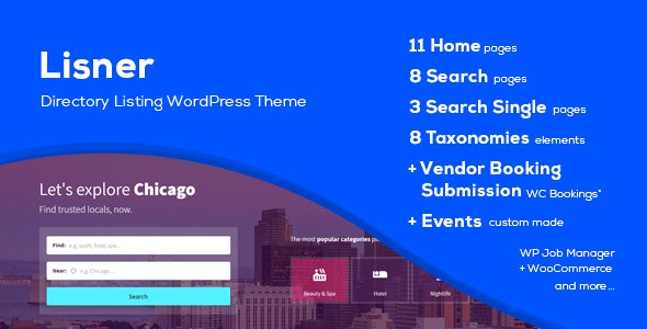 Lisner - Modern Directory Listing WordPress Theme - Directory & Listings Corporate