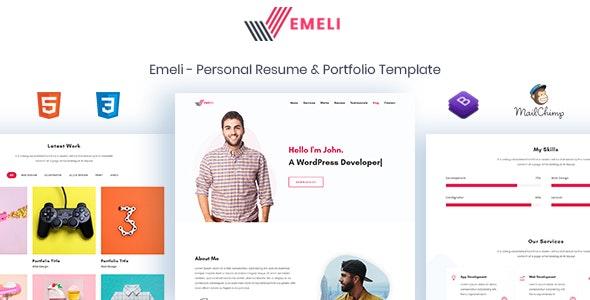 Emeli - Personal Resume & Portfolio Template - Personal Site Templates