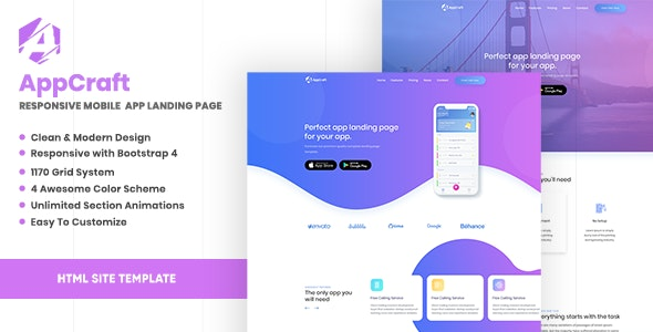 AppCraft - Creative Template for Mobile App Landing Page - Mobile Landing Pages