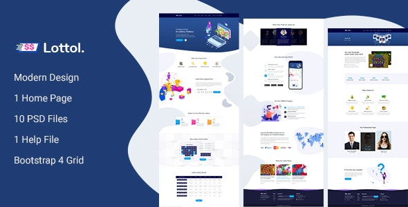 Lottol - Online Lotto PSD Template - Business Corporate