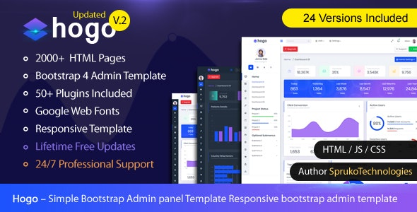Hogo – Clean Multipurpose Responsive Bootstrap Simple Admin Panel Template - Admin Templates Site Templates