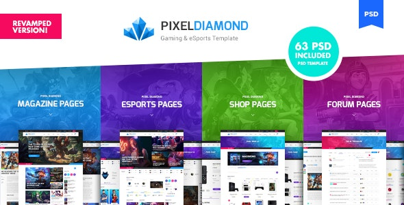 Pixel Diamond - eSports & Gaming Magazine PSD Template - Creative Photoshop