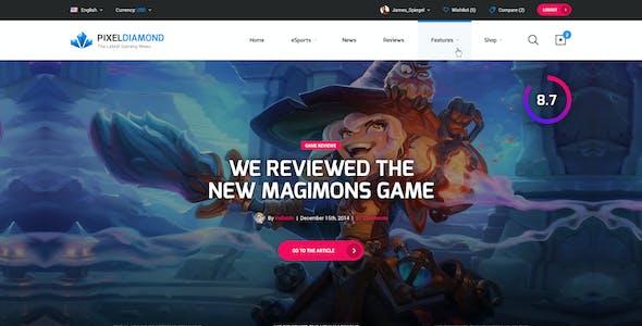Pixel Diamond - eSports & Gaming Magazine PSD Template