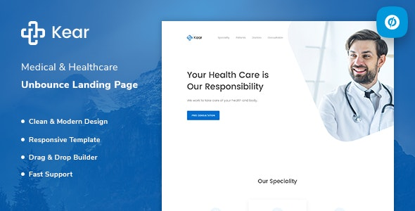Kear - Medical & Healthcare Unbounce Landing Page Template - Unbounce Landing Pages Marketing
