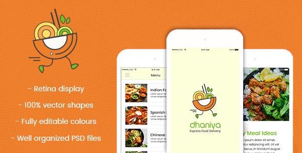 dhaniya - Mobile App PSD - Food Retail