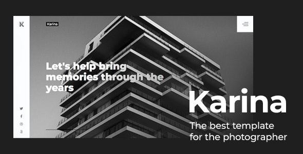 Karina — Minimalistic Website for a Photographer or Studio - Photography Creative