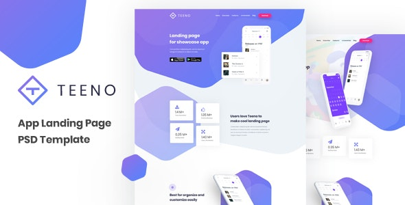 Teeno - App Landing Page - Technology PSD Templates