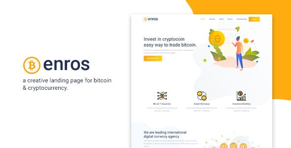 Enros - BitCoin & Cryptocurrency Landing Page - Landing Pages Marketing