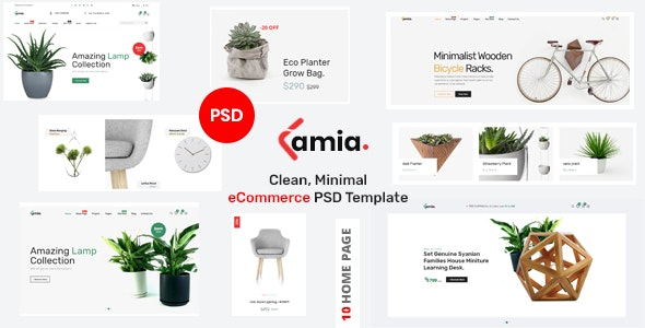 Lamia - Clean, Minimal eCommerce PSD Template - Retail Photoshop