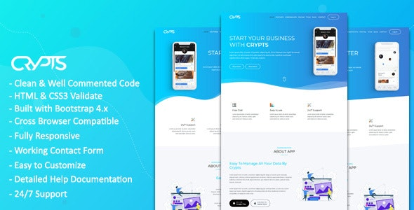Crypts- App Landing HTML5 Template - Site Templates