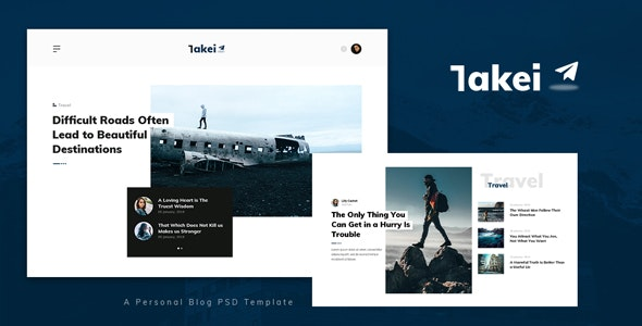 Takei - Personal Blog PSD Template - Personal Photoshop