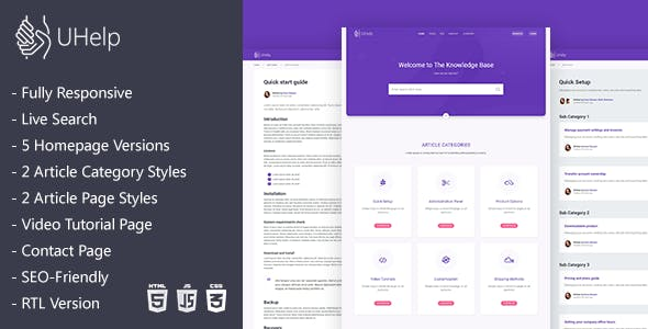 UHelp   Responsive Knowledge Base & FAQ HTML Template nulled theme download