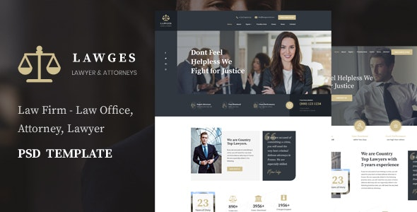 Lawges - Lawyer and Law Firm  PSD Template - Business Corporate