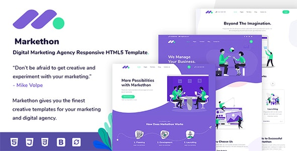 Markethon - Digital Marketing Agency Responsive HTML5 Template by