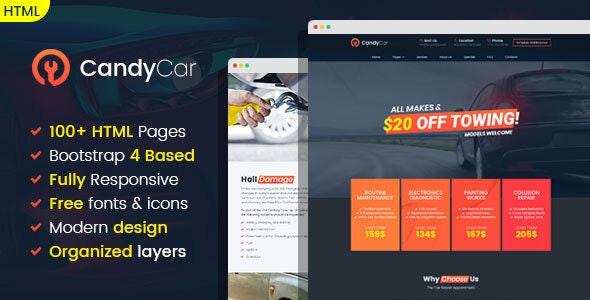 CandyCar - Auto service HTML template - Business Corporate