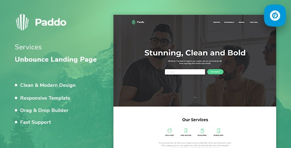 Paddo - Services Unbounce Landing Page Template - Unbounce Landing Pages Marketing