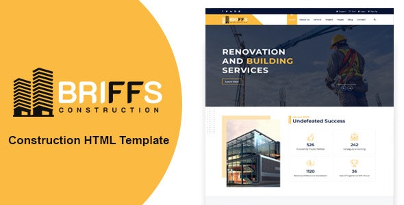Briffs - Construction HTML Template - Corporate Site Templates